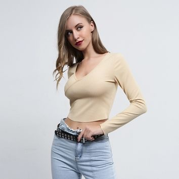 Liva Girl Ulzzang V Neck Slim Christmas Streetwear Long Sleeve Shirt Crop Top Women Camisas Blusas Femininas Fall Clothing Woman