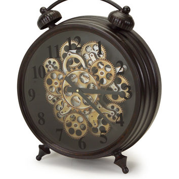 Park Avenue Collection Tabletop Clock w/Working Gears