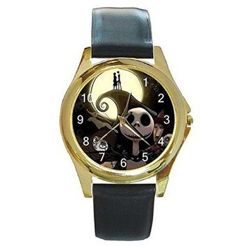 Halloween Jack Skellington on a Womens or Mens Gold Tone Watch with Leather Band