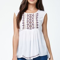 LA Hearts Embroidered Peasant Top - Womens Shirts - White