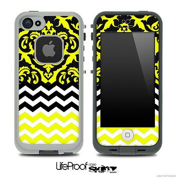 Mirrored Lace Yellow Chevron Pattern Skin for the iPhone 5 or 4/4s LifeProof Case