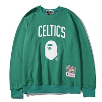 BAPE x NBA new tide brand sports and leisure round neck long-sleeved sweater green