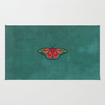 Butterfly in Jewel Colors on Teal Linen Area & Throw Rug by Perrin Le Feuvre | Society6