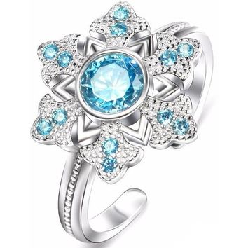 Round 1.20 ct Genuine Blue Topaz Designer Ring