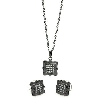 Black Rhodium Plated Brass Square Clear Cubic Zirconia Stud Earring & Necklace Set