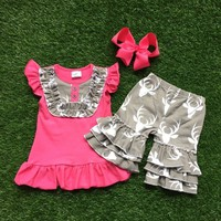 Summer girls outfit  pink deer set  sell baby kids boutique 1-9 years old girls clothing top and short set