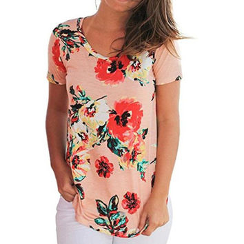 Summer Tshirt Women Flower Print Short Sleeve Tops Casual Top