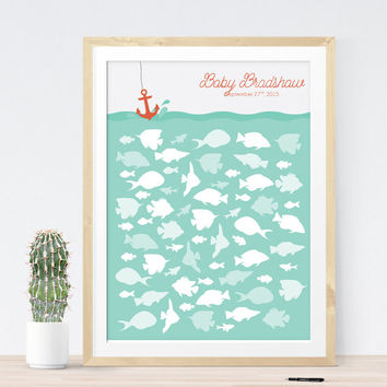 Baby shower Guest Book alternative with fish for nautical baby shower, unique baby shower decoration idea