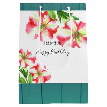 Watercolor Pink and White Petunias Illustration Medium Gift Bag