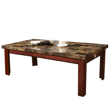 Walnut Color Wood Faux Marble Finish Rectangular Coffee Table 48x24""