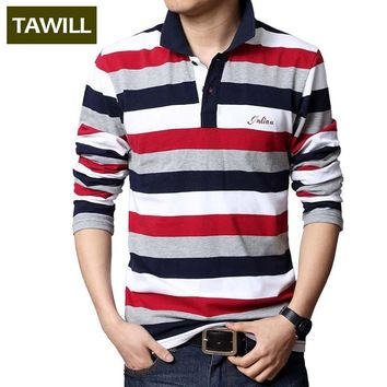 TAWILL 2016 Letters Embroidered Men Strip Polo Shirt Turn-down Collar Casual Cotton Po