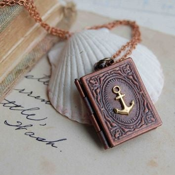 Nautical Anchor Book Locket Necklace Sailor Pirate