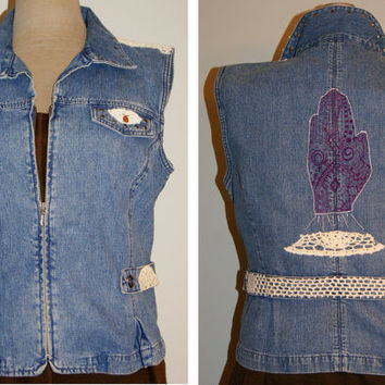 Distressed Denim Vest Jean Jacket Hand Inked Tattoo Design Vintage Lace Crochet Upcycled Boho Clothing XL
