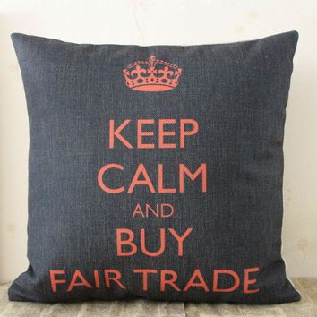 "LINKWELL 18""x18"" Crown Keep Calm and Buy Fair Trade Words Monogram Letter Burlap Seat Pillowcase Cushion Cover for Home Decor"