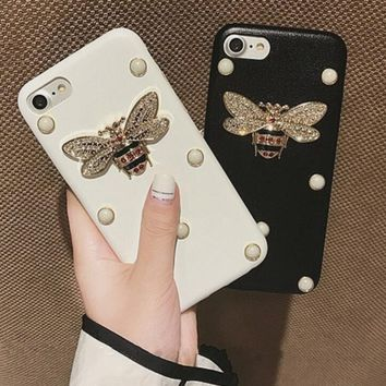 Stereoscopic Pearl bees originality iPhone Phone Cover Case For iphone 6 6s 6plus 6s-plus 7 7plus