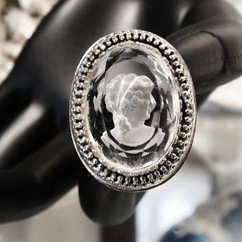 Vintage Whiting Davis Frosted Intaglio Cut Cameo Ring 1960s 60s Mid Century Designer Signed Whiting & Davis Reverse Cut Crystal Cameo Ring
