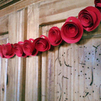 Red Paper Rose Garland Wedding Floral Garland, Paper Flower Banner, Valentines,Parties Bridal or Baby Shower, Reception Decoration