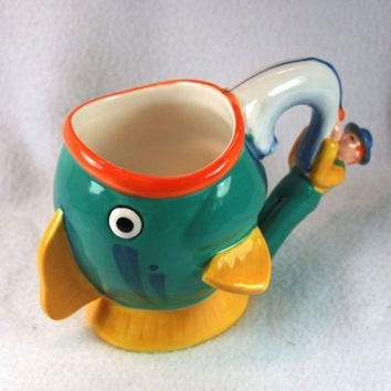 Fish Shaped Figural Large Coffee Mug Nestle Carnation Coffee-Mate