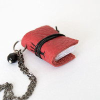 Miniature book necklace mini book jewelry, eco friendly leather book pendant, blank book lover, literature jewelry, leather journal - red
