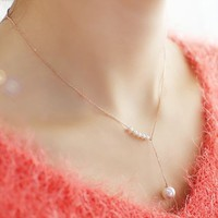 Pearl String Asymmetric Necklace (Gold) - LilyFair Jewelry