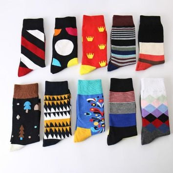 Autumn and winter new personality creative graffiti men socks High quality cotton fashion casual men's socks
