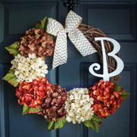 FALL Monogram Door Wreath - Autumn Personalized Wreath - Rustic Wreath - Autumn Wreaths - Autumn PORCH DECOR - Housewarming Gift