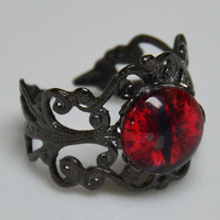 Red Fiery Dragon Eye Ring with Black Adjustable Ring Band