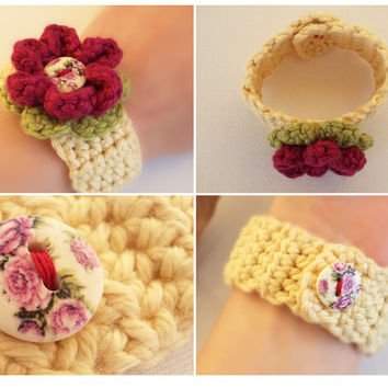 Cream Beige Crochet Bracelet with Flower in Wine Red and Floral Design Button,Vintage Jewelry Romantic Bracelet Cuff,Cotton Soft Yarn Gift