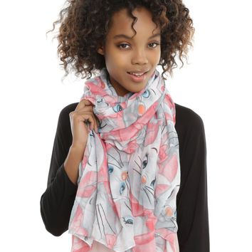 Licensed cool Disney The Aristocats Marie Cat Print Oblong Viscose Lightweight Neck Scarf NEW