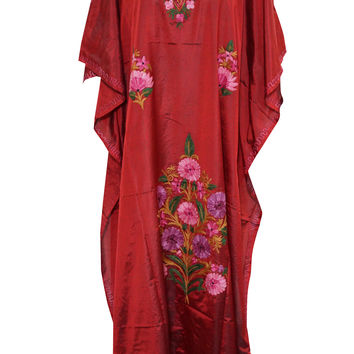 Red Silk Kaftan Crewel Embroidered Caftan Long Maxi Dress with Kimono Sleeves
