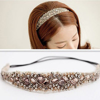 Women Girls Lace Pearl Hairband Rhinestone Headband Crystal Head Piece New