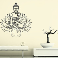 Wall Decal Vinyl Sticker Decals Art Decor Design Buddha Statue Indian Yoga Om Ganesh Prayer God Lotus Flower Office Dorm Bedroom (r1097)