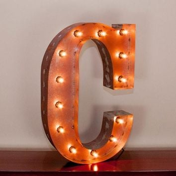 "24"" Letter C Lighted Vintage Marquee Letters with Screw-on Sockets"