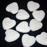 White Lava Stone Heart Beads 20x20mm 10 Beads