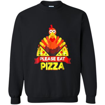 Thanksgiving  Turkey  Turkey Eat Pizza Printed Crewneck Pullover Sweatshirt