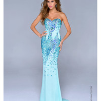 Nina Canacci 2014 Prom Dresses - Aqua Chiffon & Jewel Strapless Mermaid Prom Gown