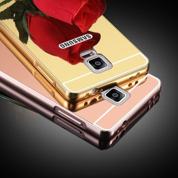 Note4 Luxury 2 in 1 Mirror Case For Samsung Galaxy Note 4 Plating Metal Bumper + Ultra thin Acrylic Mirror Back Cover Phone Case