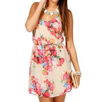 Pre-Order: Taupe/Pink Floral X-Back Dress