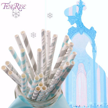 FENGRISE Frozen 25 Pieces Mixed Paper Drinking Straws Baby Shower Its A Girl Boy Birthday Wedding Snow White Decoration