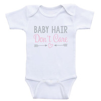 "Newborn Baby Clothes ""Baby Hair Don't Care"" Funny Cute Baby Onesuits"