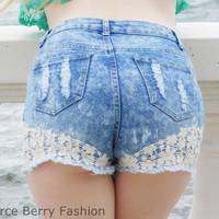 High Waisted Distressed Floral Trim Denim Shorts