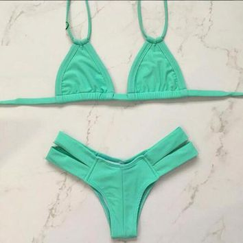 hot pure color two piece bikinis