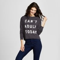 Women's Can't Adult Today Graphic Pullover Sweatshirt - Fifth Sun (Juniors') Black