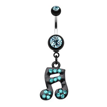 Sparkle Fun Music Note Dangle Belly Button Ring