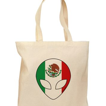 Mexican Flag Extraterrestrial Grocery Tote Bag by TooLoud