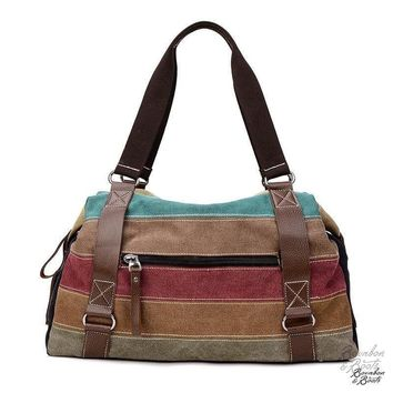 Ladies Soft Pastel Striped Canvas Handbag
