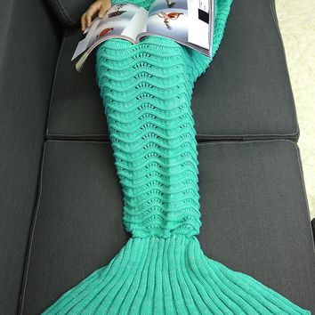 Wave Stripe Knitted Sofa Bed Throw Wrap Mermaid Blanket
