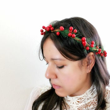 Red Berries and Pine Floral Crown Flower Crown, Woodland, Holiday fashion, winter wedding, womens accessories, Christmas Headpiece