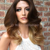Ombre Light Blond Loose Curl Multi Parting Human Blend Hair Swiss Lace Front Wig 12 inches