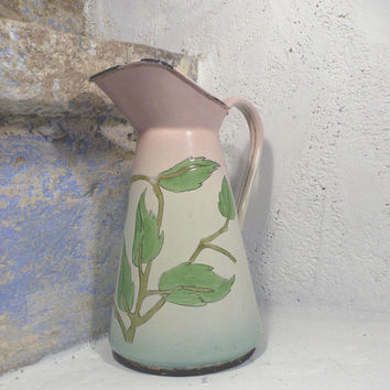 French antique enamel pitcher. shabby chic pitcher. antique enamelware. antique jug. French vintage. County home